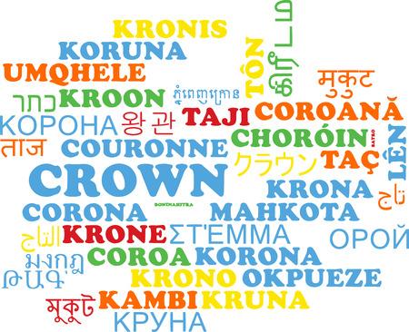 multilanguage: Background concept wordcloud multilanguage international many language illustration of crown
