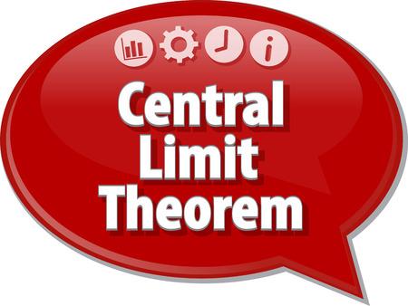 teorema: Ilustración de diálogo Burbuja del discurso del término de negocios diciendo Teorema Central del Límite