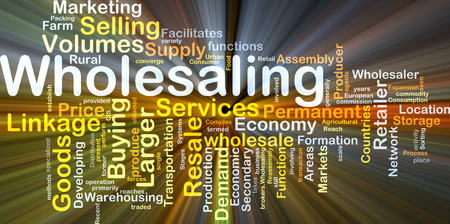 larger: Background concept wordcloud illustration of wholesaling glowing light Stock Photo