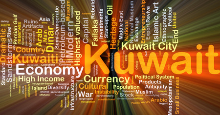 instability: Background concept wordcloud illustration of Kuwait glowing light