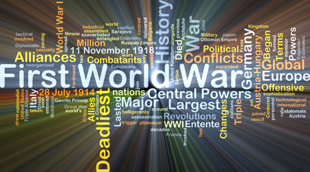 Background concept wordcloud illustration of First World War glowing light Stock Photo