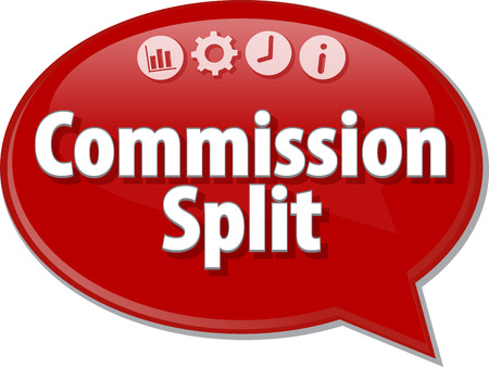 commissions: Speech bubble dialog illustration of business term saying Commission Split Stock Photo