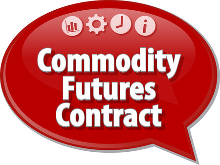 futures: Speech bubble dialog illustration of business term saying Commodity Futures Contract
