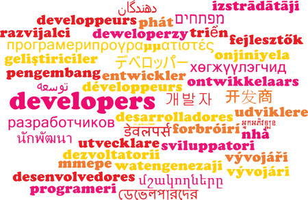 developers: Background concept wordcloud multilanguage international many language illustration of developers Stock Photo