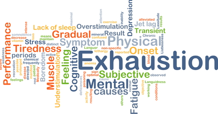 Background concept wordcloud illustration of exhaustion Stock Photo