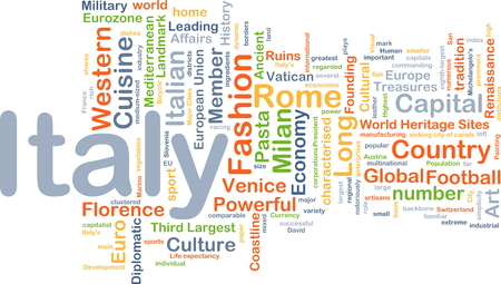 affairs: Background concept wordcloud illustration of Italy