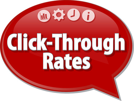 rates: Speech bubble dialog illustration of business term saying Click-Through Rates