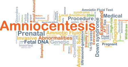 abnormalities: Background concept wordcloud illustration of amniocentesis Stock Photo