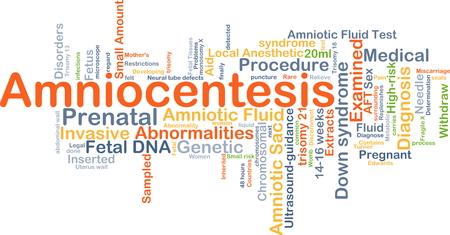Background concept wordcloud illustration of amniocentesis Stock Photo