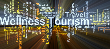 homeopathic: Background concept wordcloud illustration of wellness tourism glowing light Stock Photo