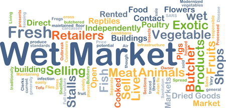 word cloud: Background concept wordcloud illustration of wet market Stock Photo