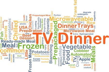 frozen fish: Background concept wordcloud illustration of TV dinner