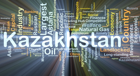 landlocked country: Background concept wordcloud illustration of Kazakhstan glowing light