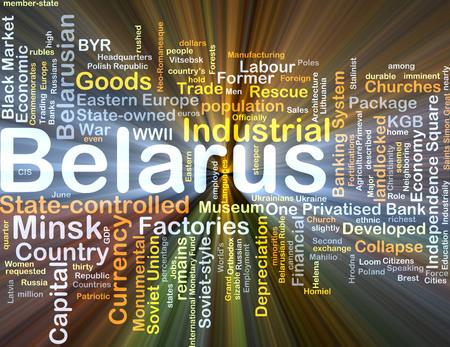 landlocked: Background concept wordcloud illustration of Belarus glowing light