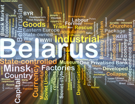 Background concept wordcloud illustration of Belarus glowing light
