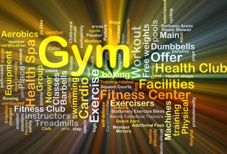 additional training: Background concept wordcloud illustration of gym glowing light Stock Photo