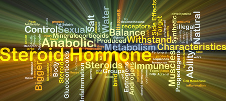 receptors: Background concept wordcloud illustration of steroid hormone glowing light
