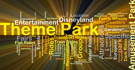 fairs: Background concept wordcloud illustration of theme park glowing light