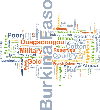 landlocked country: Background concept wordcloud illustration of Burkina Faso Stock Photo