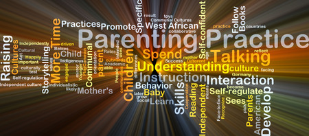 parenting: Background concept wordcloud illustration of parenting practice glowing light