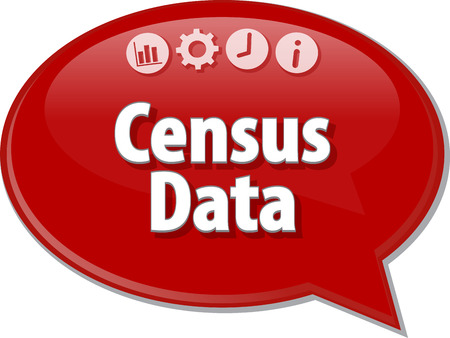 census: Speech bubble dialog illustration of business term saying Census Data