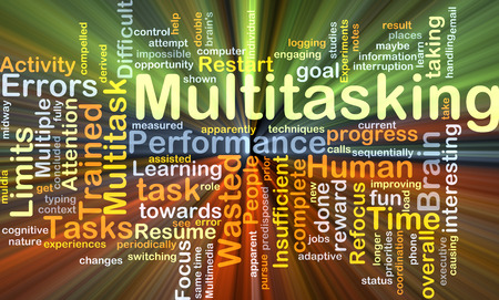 wasted: Background concept wordcloud illustration of multitasking glowing light