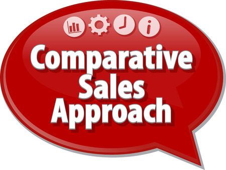 Speech bubble dialog illustration of business term saying Comparative Sales Approach Stock Photo