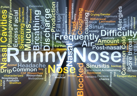runny: Background concept wordcloud illustration of runny nose glowing light