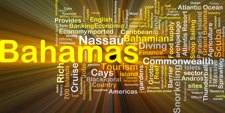 Background concept wordcloud illustration of Bahamas glowing light Stock fotó