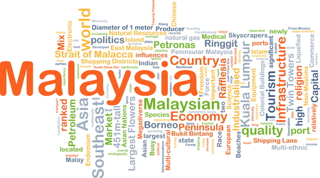 industrialized country: Background concept wordcloud illustration of Malaysia