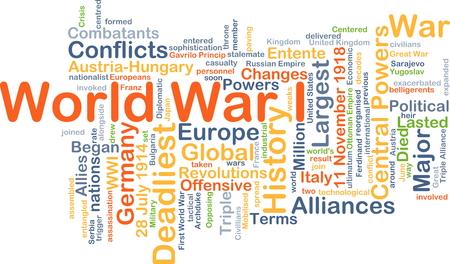 Background concept wordcloud illustration of World War I