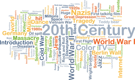20th: Background concept wordcloud illustration of 20th century