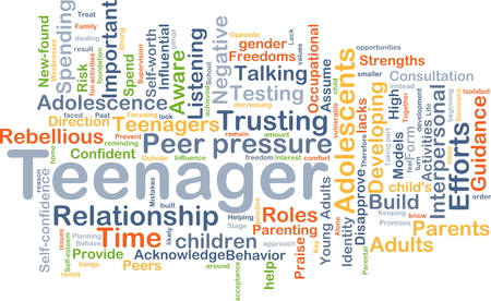 rebellious: Background concept wordcloud illustration of teenager