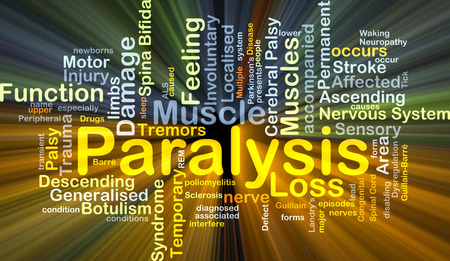 affected: Background concept wordcloud illustration of paralysis glowing light
