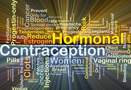 hormonal: Background concept wordcloud illustration of hormonal contraception glowing light