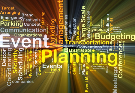 event planning: Background concept wordcloud illustration of event planning glowing light