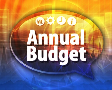 term: Speech bubble dialog illustration of business term saying Annual budget