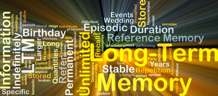 span: Background concept wordcloud illustration of long-term memory LTM glowing light