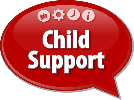 seperation: Speech bubble dialog illustration of business term saying Child Support Stock Photo