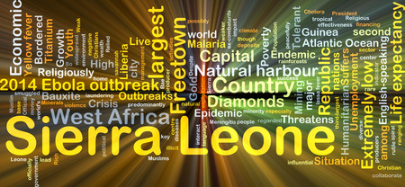 yellow fever: Background concept wordcloud illustration of Sierra Leone glowing light