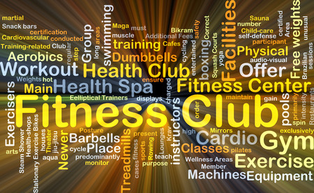 additional training: Background concept wordcloud illustration of fitness club glowing light