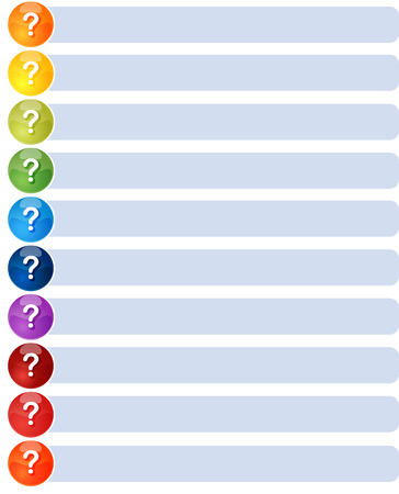 color theory: Blank business strategy concept infographic diagram illustration Question List Ten Stock Photo