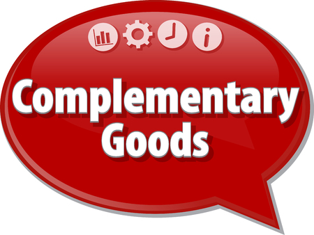 complementary: Speech bubble dialog illustration of business term saying Complementary Goods Stock Photo