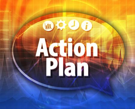 plan de accion: Speech bubble dialog illustration of business term saying  Action plan Foto de archivo