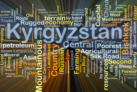 Background concept wordcloud illustration of Kyrgyzstan glowing light