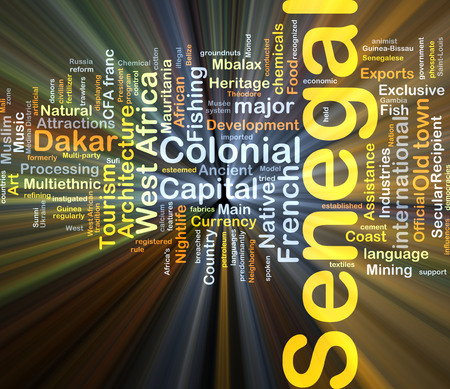 dakar: Background concept wordcloud illustration of Senegal glowing light