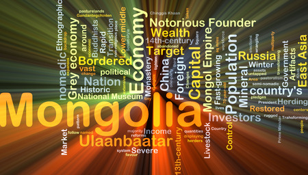 notorious: Background concept wordcloud illustration of Mongolia glowing light