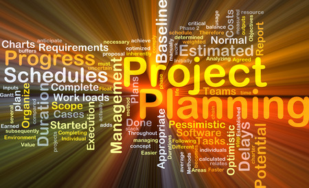 Background concept wordcloud illustration of project planning glowing light 스톡 콘텐츠