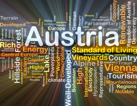 notable: Background concept wordcloud illustration of Austria glowing light Stock Photo