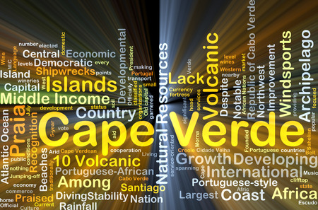 praised: Background concept wordcloud illustration of Cape Verde glowing light